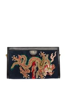 Синяя замшевая сумка с драконом Ophidia Gucci