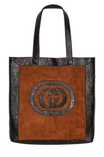Замшевая коричневая сумка Ophidia Gucci