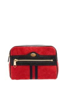 Красная замшевая сумка на пояс Ophidia Gucci