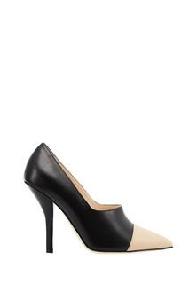 Черные туфли с контрастным носком Fendi