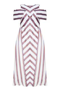 Шелковое платье в контрастную полоску Fendi
