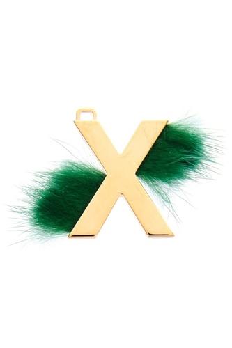 Подвеска с зеленым мехом X