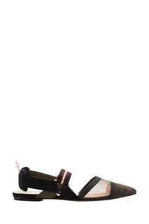 Комбинированные туфли с логотипами Fendi