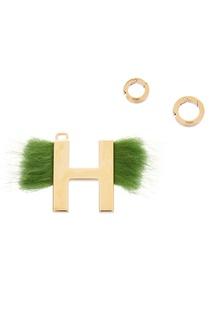 Подвеска с зеленым мехом H Fendi