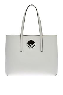Белая кожаная сумка Logo Fendi