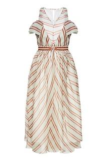 Шелковое платье в полоску Fendi