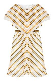 Платье из белого шелка в полоску Fendi