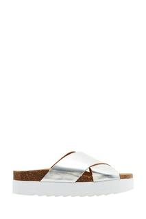 Серебристые ламинированные сандалии Colors of California