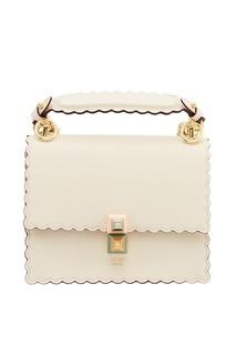 Белая кожаная сумка Kan I Small Fendi