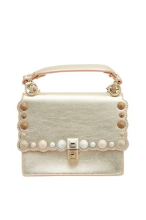 Золотистая кожаная сумка Kan I Mini Fendi