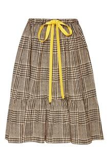 Хлопковая юбка в клетку Fendi