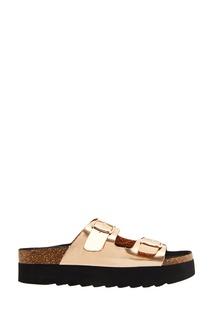 Золотистые ламинированные сандалии Colors of California