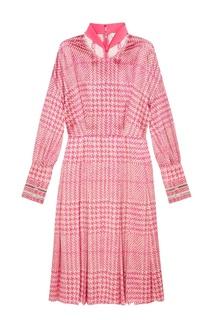 Платье из розового шелка в клетку Fendi