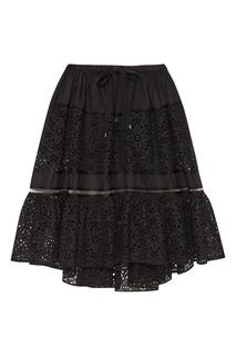 Черная юбка из хлопкового шитья Fendi