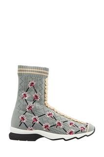 Высокие кроссовки из джерси с цветами Fendi