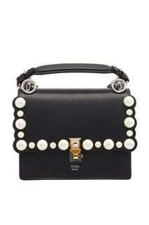 Черная сумка с жемчужинами Kan I Small Fendi