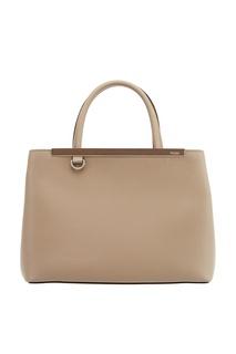 Бежевая сумка из кожи Petit 2Jours Fendi