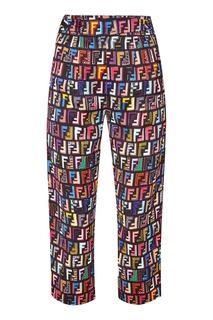 Брюки с разноцветными логотипами Fendi