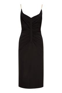 Черное платье с драпировками No.21