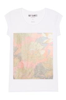 Белая футболка с цветами Loto KO Samui
