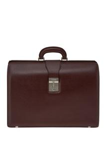 Бордовый кожаный портфель Canali