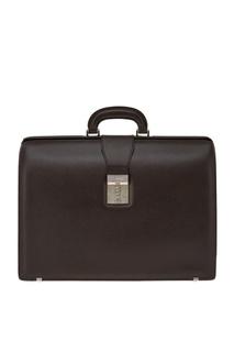Коричневый кожаный портфель Canali