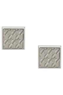 Серебристые запонки с гравировкой Canali