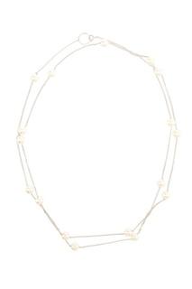 Серебряное колье-цепочка с жемчужинами Exclaim