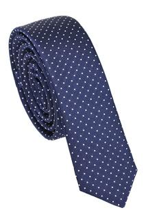 Синий шелковый галстук в горох Dolce & Gabbana
