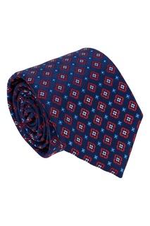 Синий шелковый галстук с цветами Canali