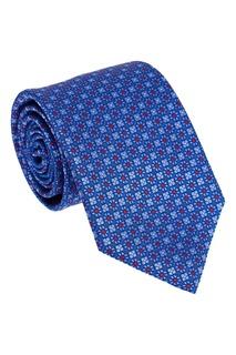 Синий жаккардовый галстук с цветами Canali