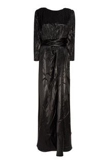 Черное атласное платье-макси Gucci