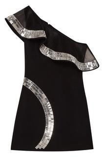 Черное платье-мини с кристаллами David Koma