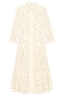 Хлопковое платье с вышитыми точками Valentino