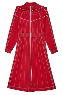 Красное платье в тонкую полоску Valentino