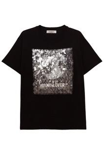 Черная хлопковая футболка с пайетками Valentino