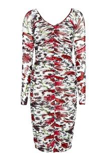 Белое драпированное платье с цветами Diane von Furstenberg