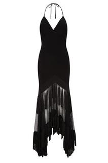 Черное платье-комбинация с бахромой Diane von Furstenberg