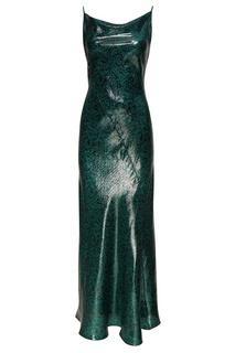 Зеленое платье из шелка с люрексом Diane von Furstenberg