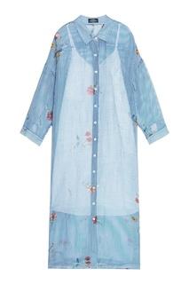 Платье-рубашка из шелка и льна с принтом Alena Akhmadullina