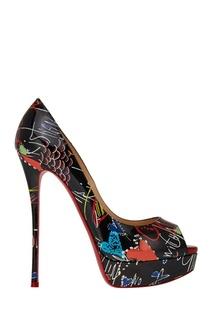 Черные туфли с принтом Fetish Peep 150 Christian Louboutin