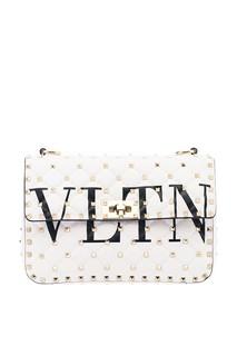 Белая сумка с логотипом и заклепками Rockstud Spike.It Valentino