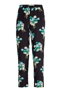 Шелковые брюки с цветочным принтом RED Valentino