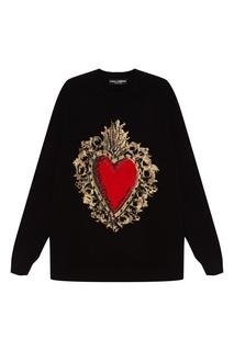 Черный джемпер с сердцем Dolce & Gabbana