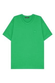 Зеленая хлопковая футболка Nash Acne Studios