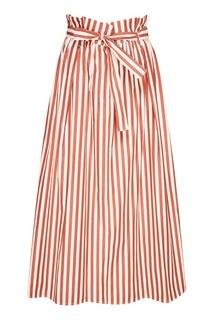 Хлопковая юбка в красную полоску Max Mara Weekend
