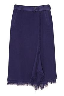 Синяя юбка с бахромой по краям Adolfo Dominguez