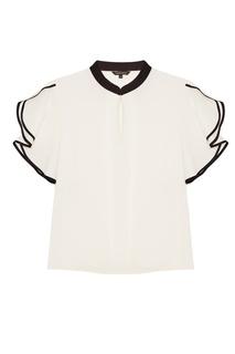 Белая блузка с черными окантовками Tara Jarmon