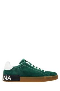 Зеленые замшевые кеды Dolce & Gabbana
