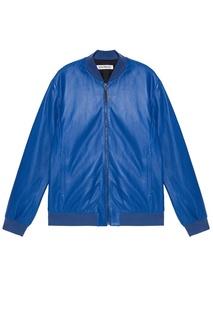 Куртка из синей перфорированной кожи Dirk Bikkembergs